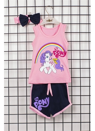 Max Bebek My Little Pony Kız Çocuk Bandanalı 2'li Alt Üst Takım Pudra